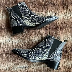 Marc Fisher Snakeskin Yale Ankle Boots